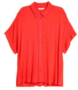 H&M red blouse fast fashion